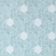 Blue/Spa/Metallic Geometric Wallcovering by Kravet Wallpaper