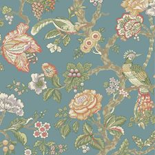 Teal/Eggshell/Tomato Asian Wallcovering by York