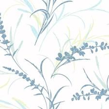 White/Chambray Blue/Marine Blue Botanical Wallcovering by York