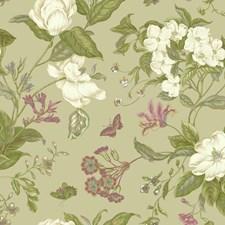 Pale Metallic Gold/Green/White Botanical Wallcovering by York