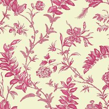 Cream/Bright Pink/Magenta Toile Wallcovering by York