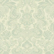 Cream On Metallic Aqua/Teal Damask Wallcovering by York