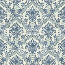 Eggshell/Marine Blue/Teal Damask Wallcovering by York