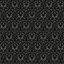Dark Stone Grey/Glittering Black Damask Wallcovering by York
