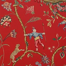 Tomato Hand Printed Wallcovering by Scalamandre Wallpaper