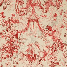 Red/Cream Hand Print Wallcovering by Scalamandre Wallpaper
