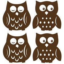 WPSI0842 Owl Espresso Silhouette Decals by Brewster