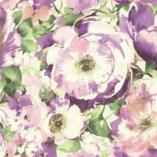 White/Purple/Peach Contemporary Wallcovering by York