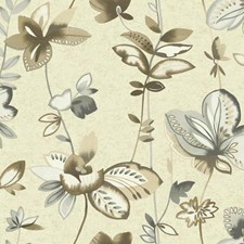 Creamy Pearl/Grey/Taupe Floral Medium Wallcovering by York