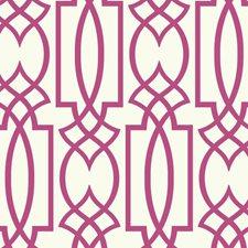 White/Pinkish Purple Lattice Wallcovering by York